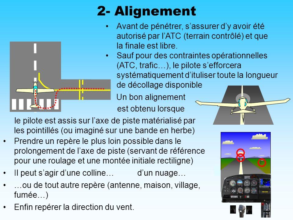 2- Alignement Avant de pénétrer, s'assurer d'y avoir été autorisé par l'ATC (terrain contrôlé) et que la finale est libre.