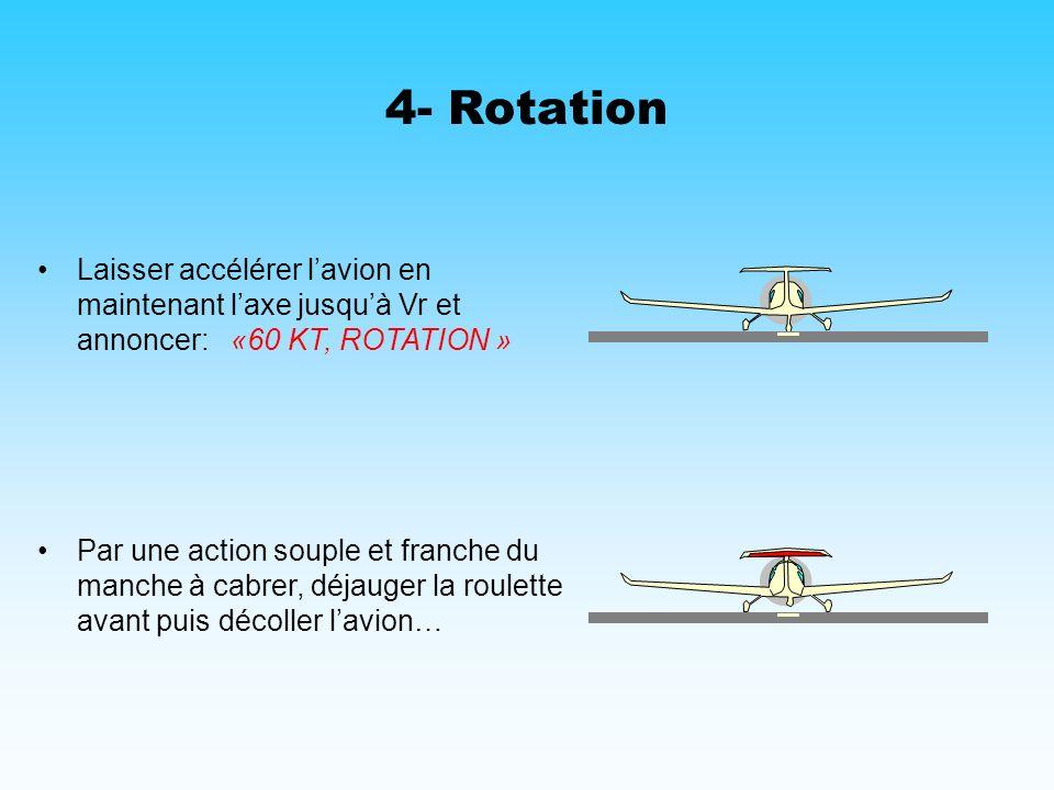 4- Rotation Laisser accélérer l'avion en maintenant l'axe jusqu'à Vr et annoncer: «60 KT, ROTATION »