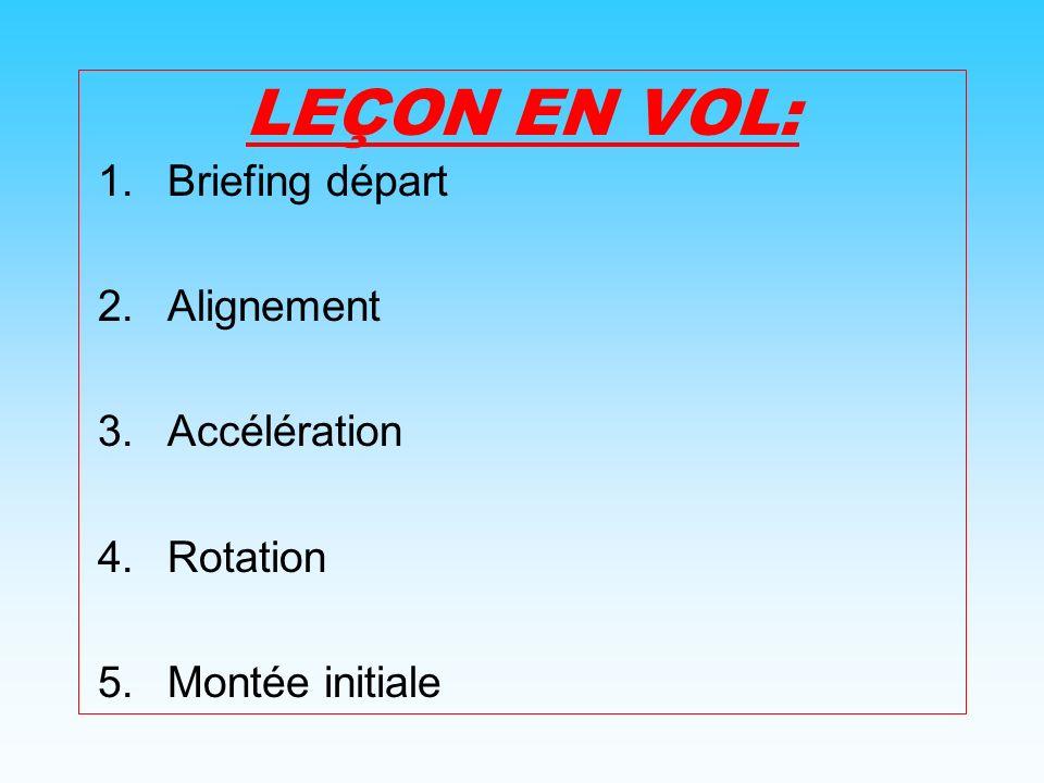LEÇON EN VOL: Briefing départ Alignement Accélération Rotation