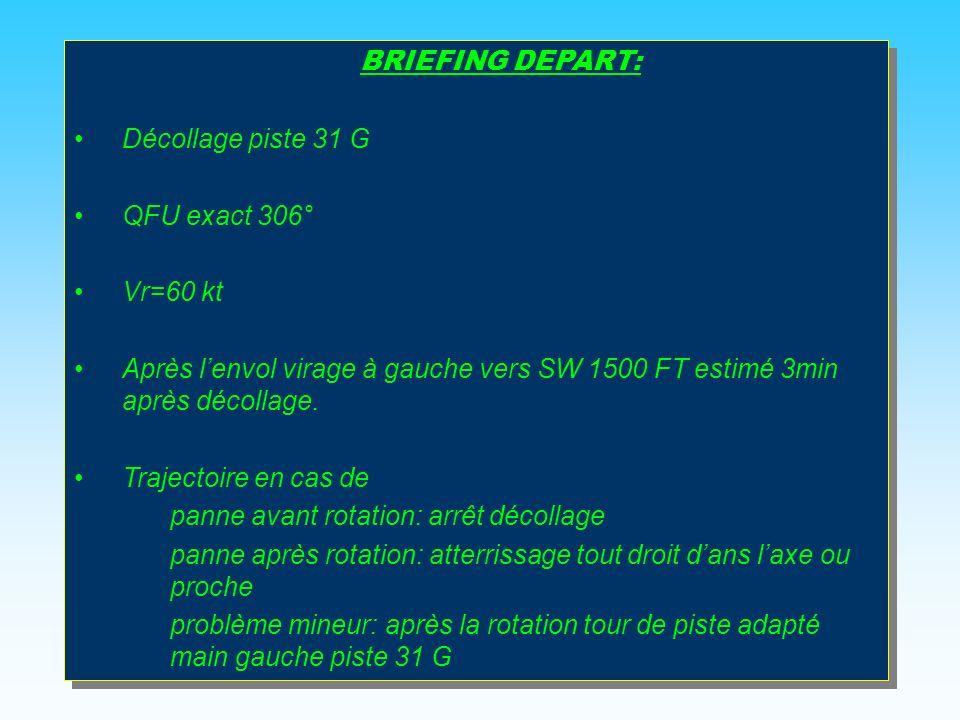 BRIEFING DEPART: Décollage piste 31 G. QFU exact 306° Vr=60 kt. Après l'envol virage à gauche vers SW 1500 FT estimé 3min après décollage.