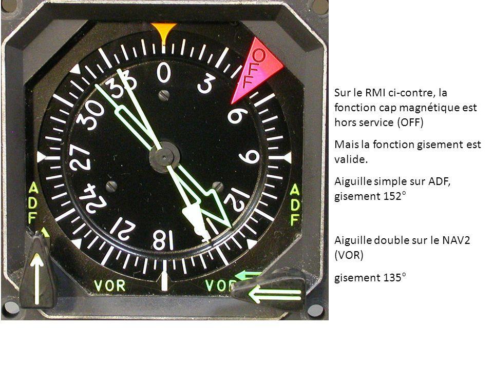 Sur le RMI ci-contre, la fonction cap magnétique est hors service (OFF)
