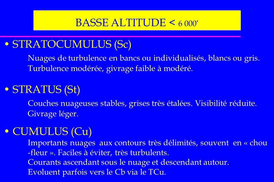 BASSE ALTITUDE < 6 000' STRATOCUMULUS (Sc)