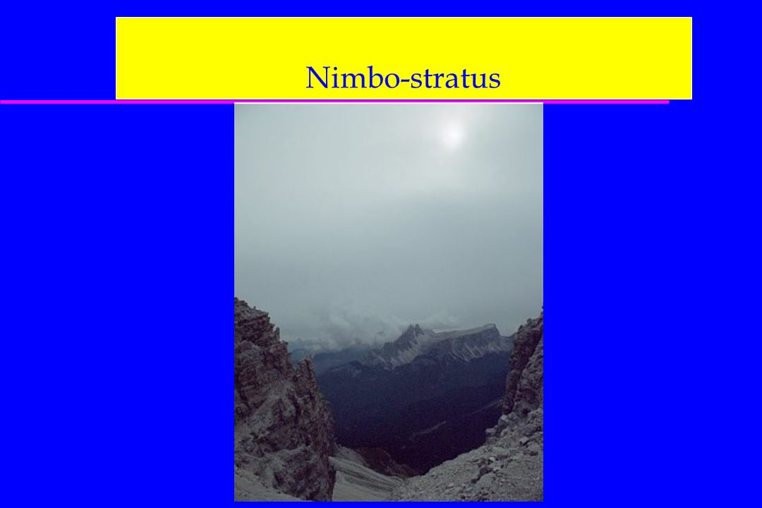 Nimbo-stratus On aura aussi les cartes : 500 hPa, FL180 400 hPa, FL240