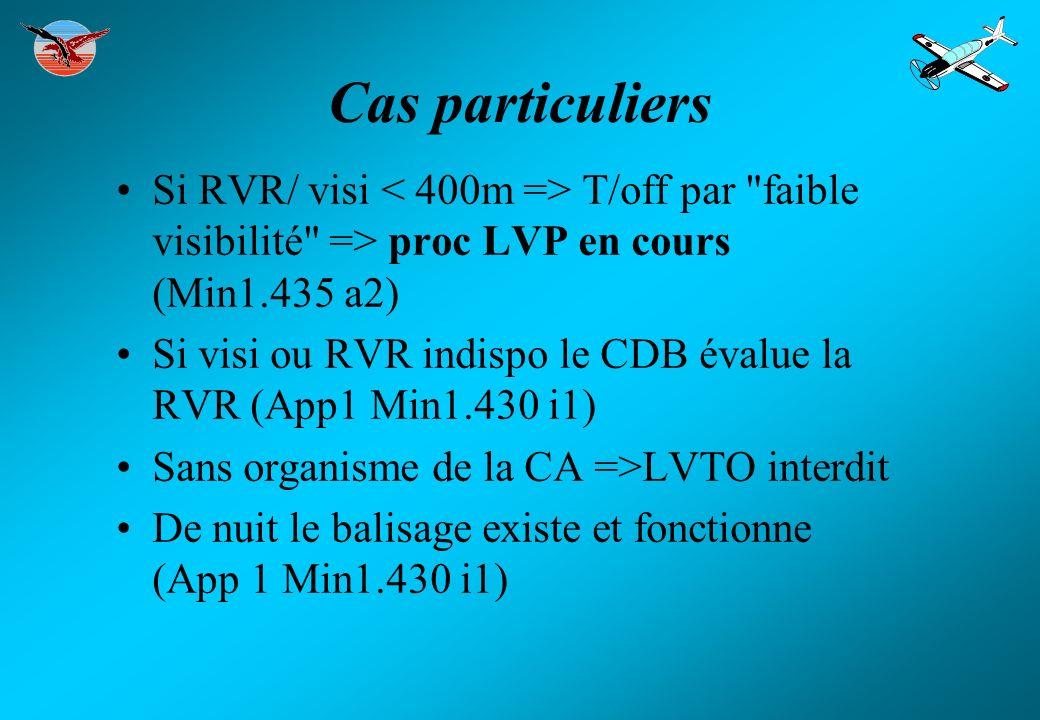 Cas particuliers Si RVR/ visi < 400m => T/off par faible visibilité => proc LVP en cours (Min1.435 a2)