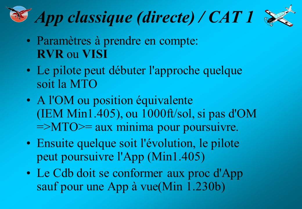 App classique (directe) / CAT 1