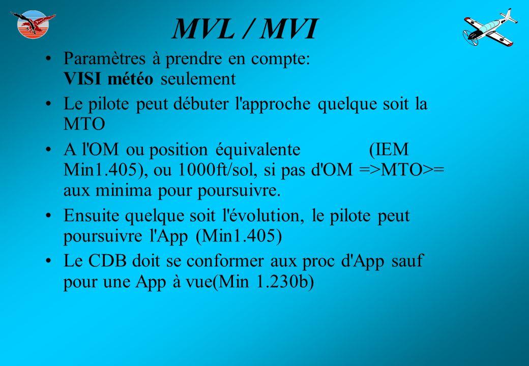 MVL / MVI Paramètres à prendre en compte: VISI météo seulement