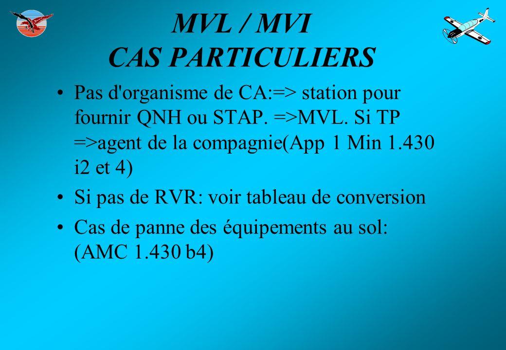 MVL / MVI CAS PARTICULIERS