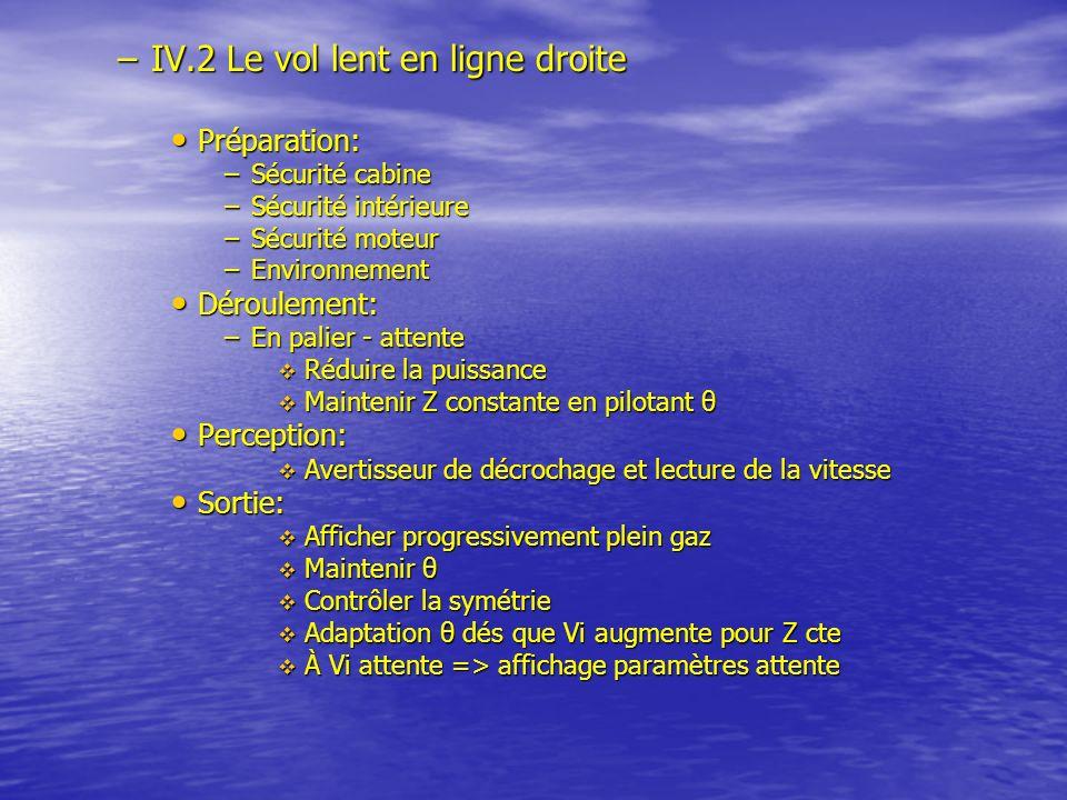 IV.2 Le vol lent en ligne droite