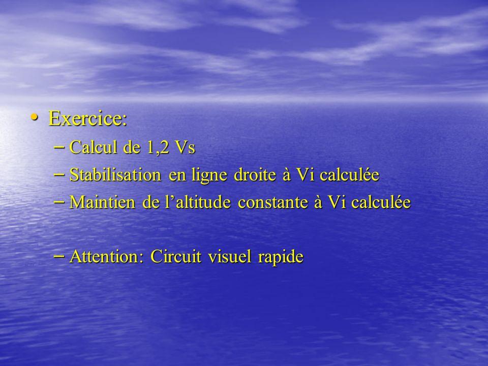 Exercice: Calcul de 1,2 Vs Stabilisation en ligne droite à Vi calculée