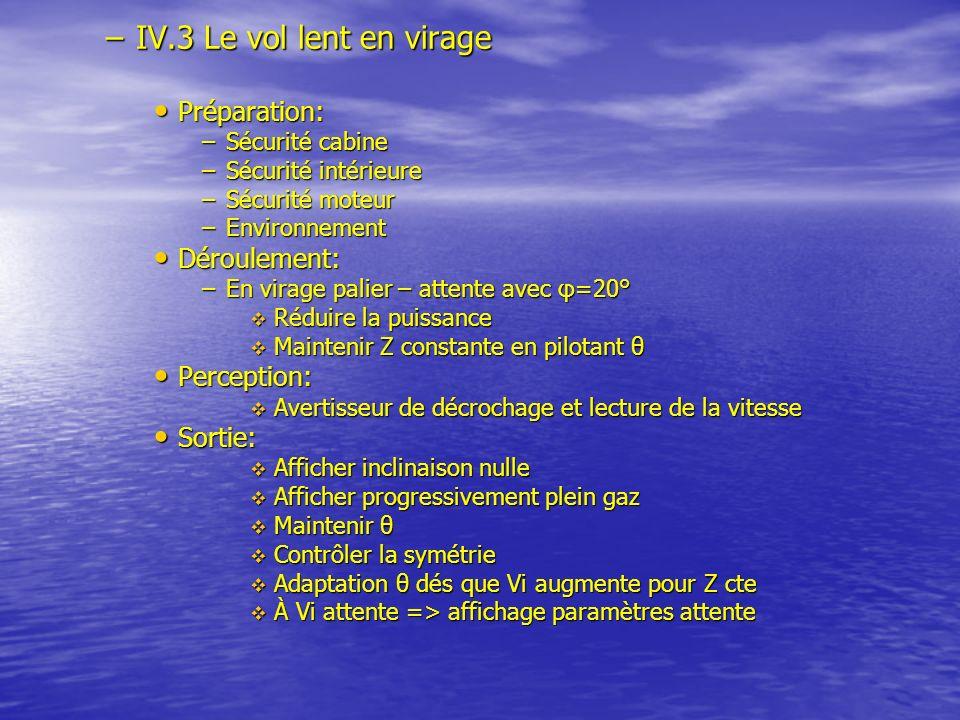 IV.3 Le vol lent en virage Préparation: Déroulement: Perception: