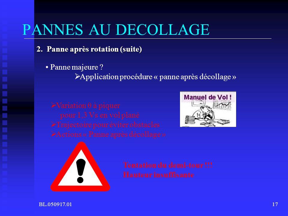 PANNES AU DECOLLAGE 2. Panne après rotation (suite) Panne majeure