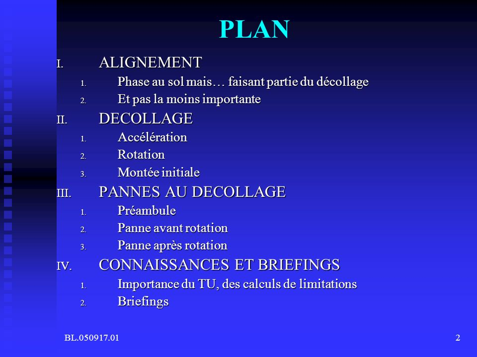 PLAN ALIGNEMENT DECOLLAGE PANNES AU DECOLLAGE