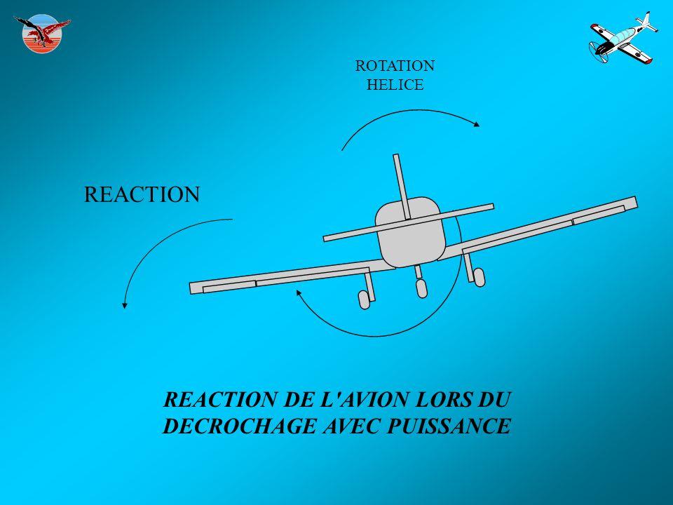 REACTION DE L AVION LORS DU DECROCHAGE AVEC PUISSANCE