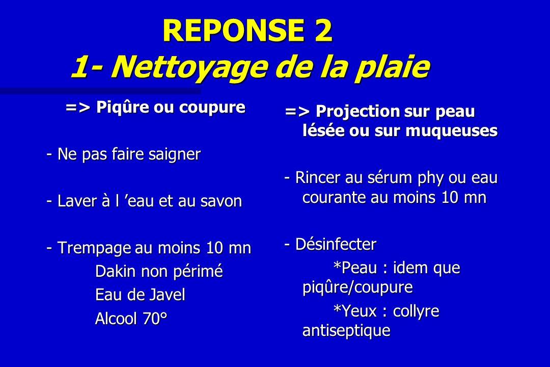 REPONSE 2 1- Nettoyage de la plaie