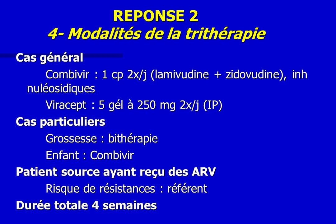 REPONSE 2 4- Modalités de la trithérapie