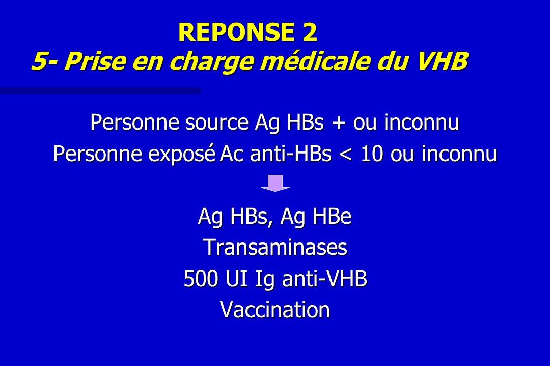REPONSE 2 5- Prise en charge médicale du VHB