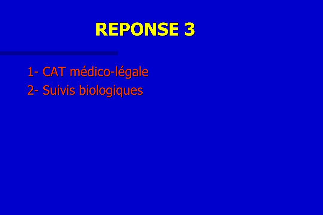 REPONSE 3 1- CAT médico-légale 2- Suivis biologiques