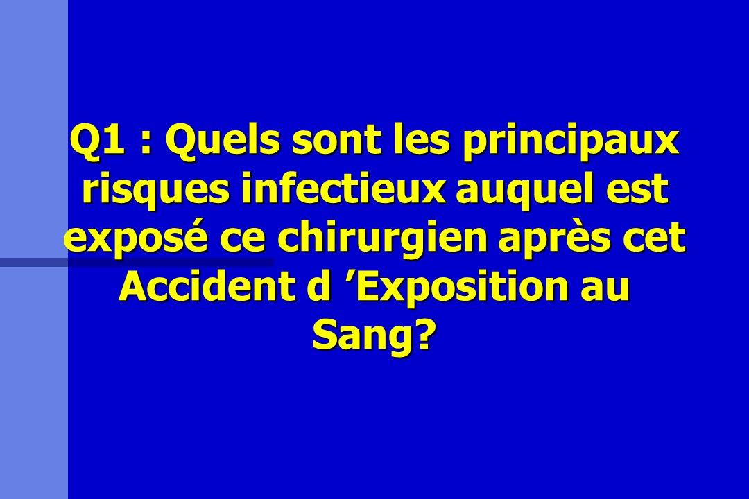 Q1 : Quels sont les principaux risques infectieux auquel est exposé ce chirurgien après cet Accident d 'Exposition au Sang