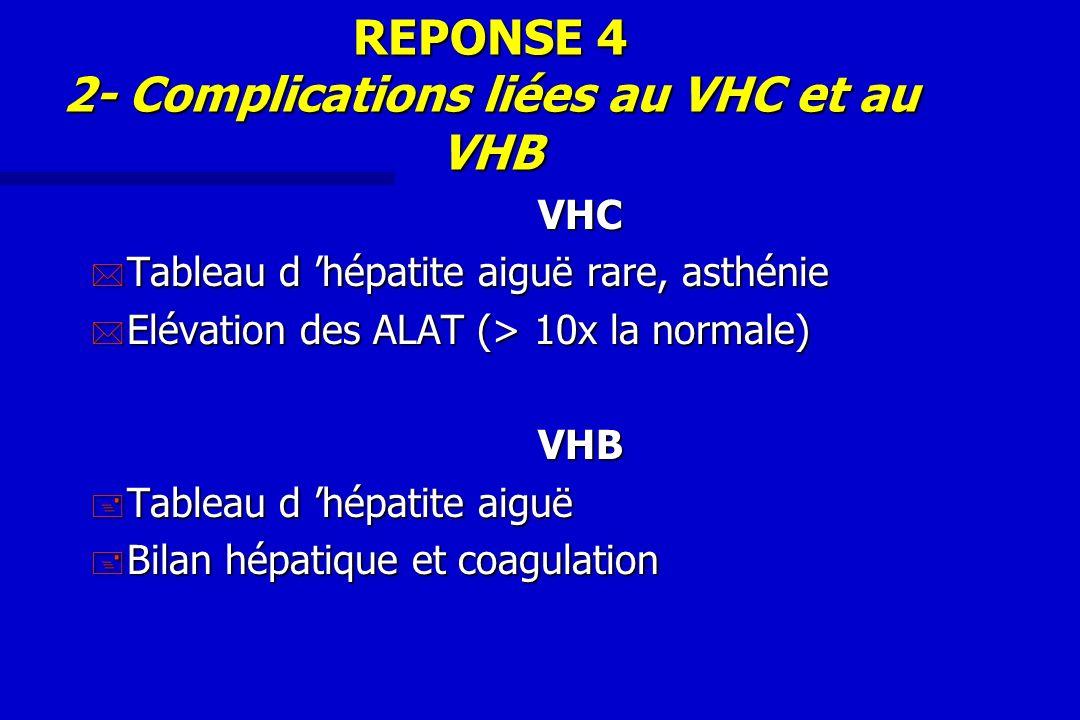 REPONSE 4 2- Complications liées au VHC et au VHB