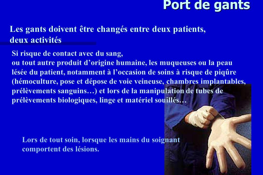 Port de gants Les gants doivent être changés entre deux patients,