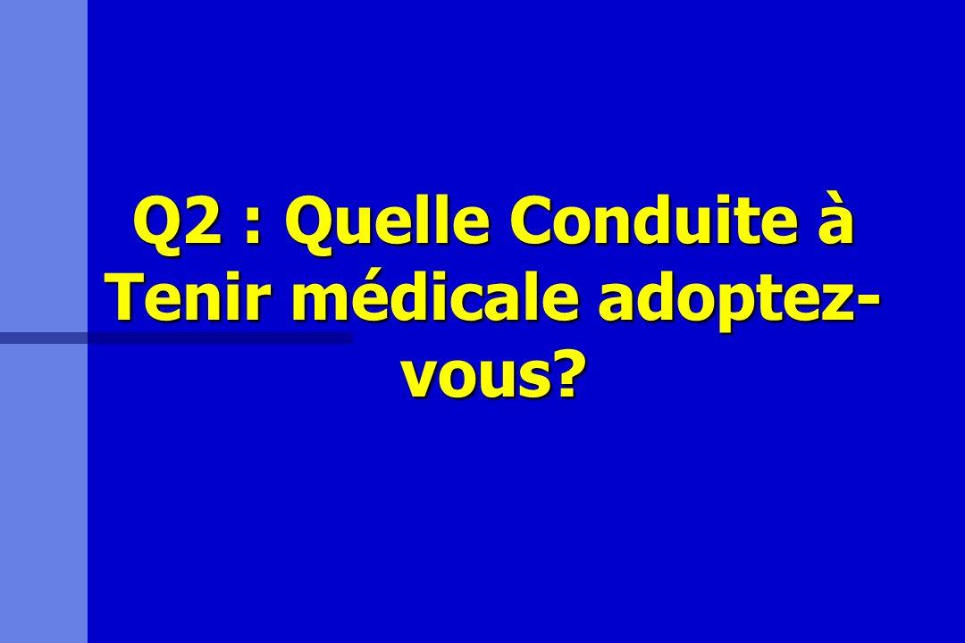 Q2 : Quelle Conduite à Tenir médicale adoptez-vous