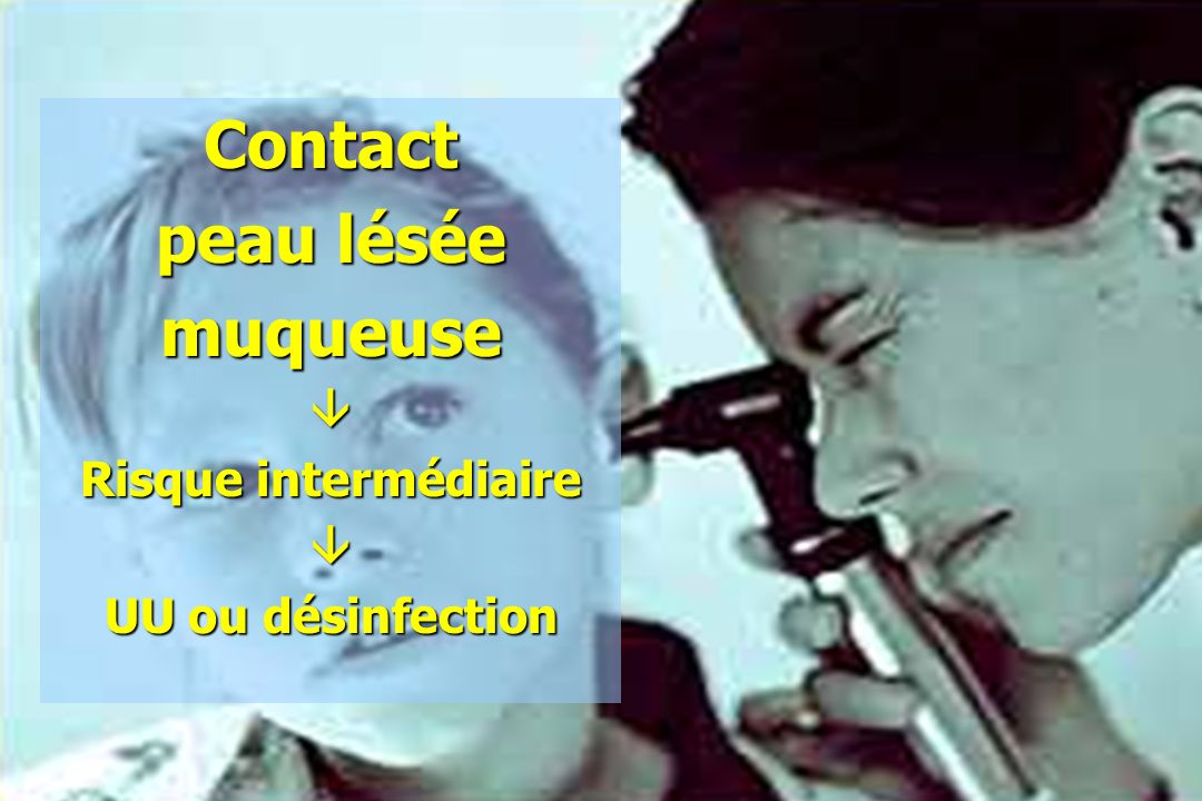 Contact peau lésée muqueuse