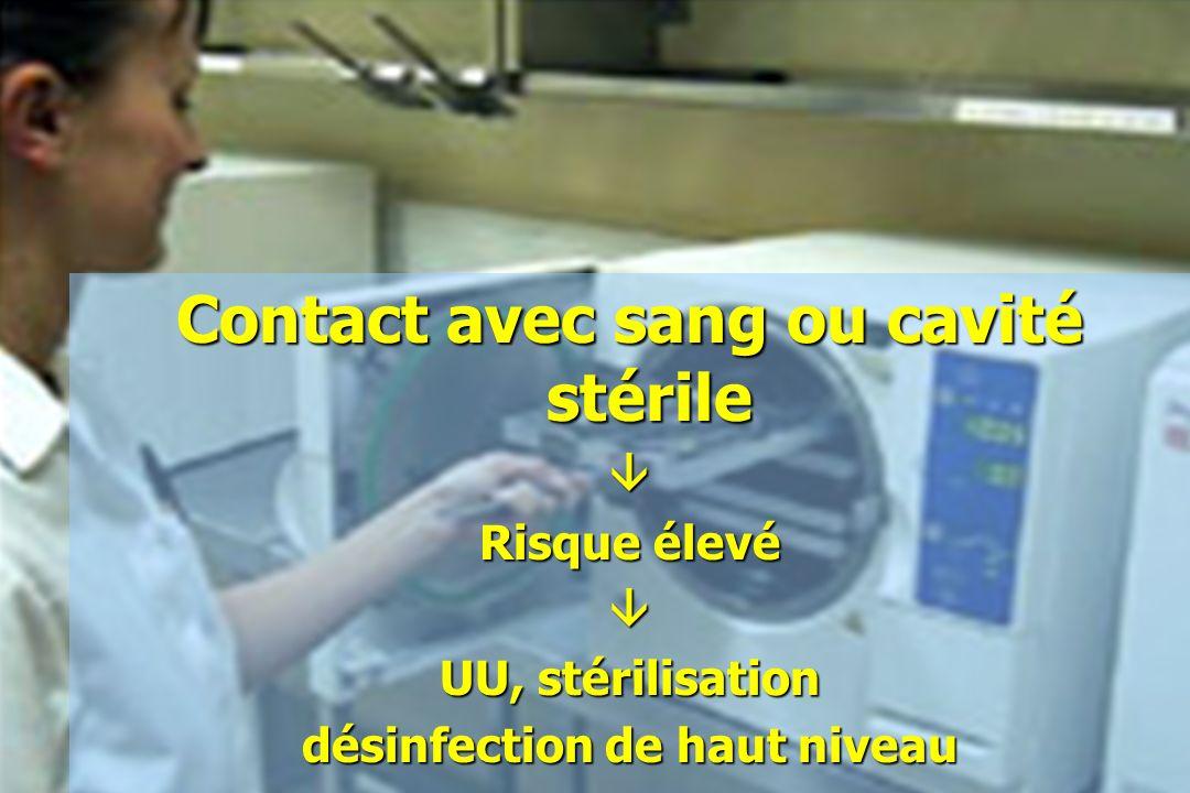 Contact avec sang ou cavité stérile désinfection de haut niveau