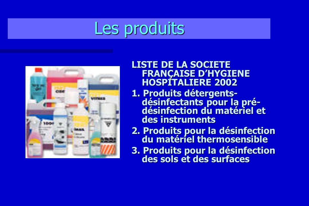 Les produits LISTE DE LA SOCIETE FRANÇAISE D'HYGIENE HOSPITALIERE 2002