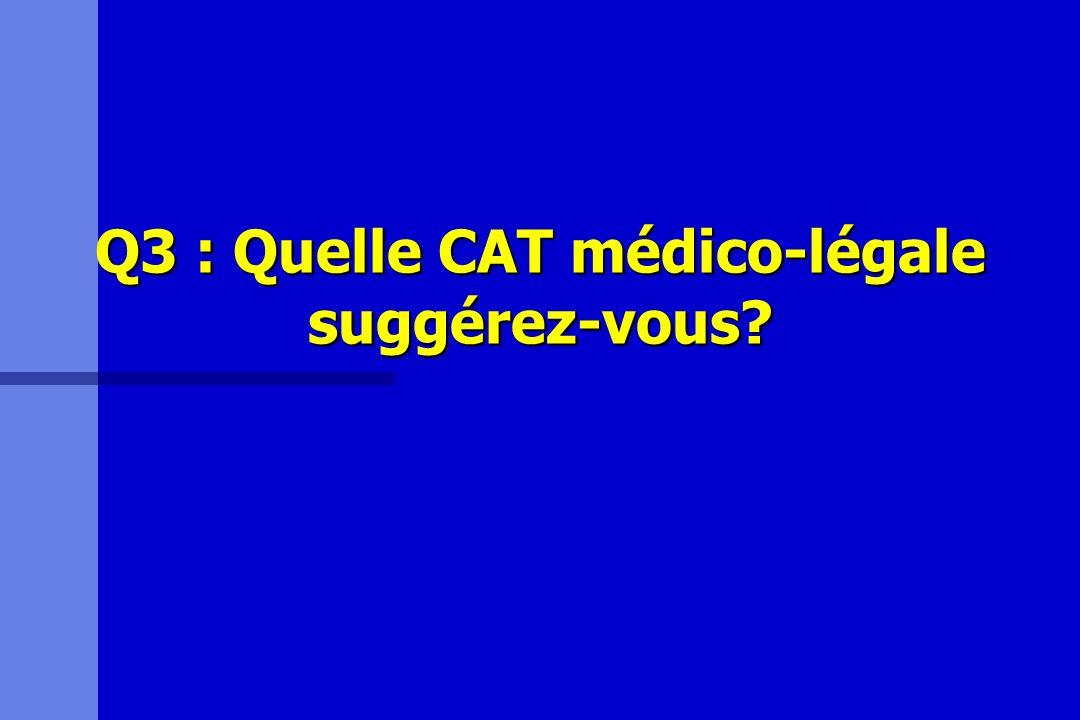 Q3 : Quelle CAT médico-légale suggérez-vous