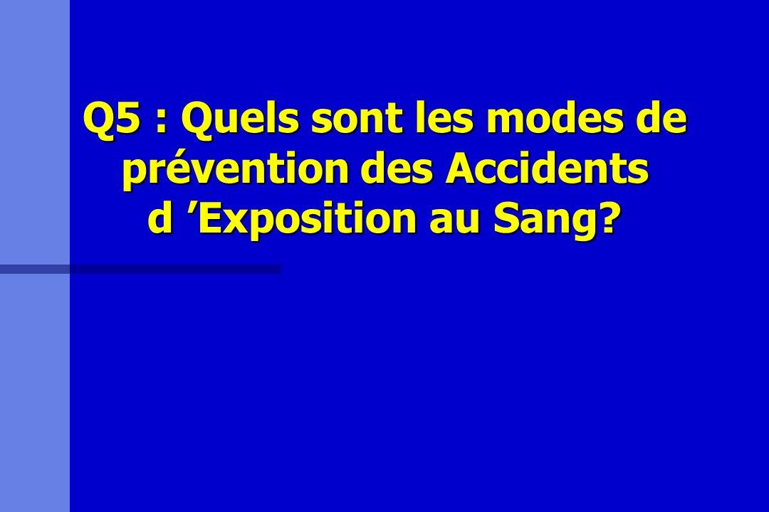 Q5 : Quels sont les modes de prévention des Accidents d 'Exposition au Sang
