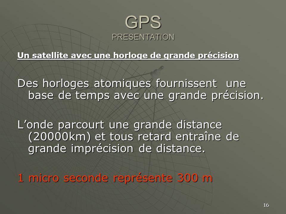 GPS PRESENTATION Un satellite avec une horloge de grande précision. Des horloges atomiques fournissent une base de temps avec une grande précision.