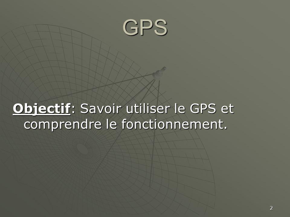 GPS Objectif: Savoir utiliser le GPS et comprendre le fonctionnement.