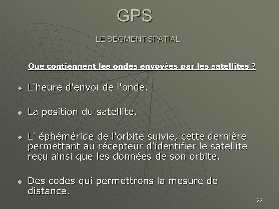 GPS LE SEGMENT SPATIAL L heure d envoi de l onde.