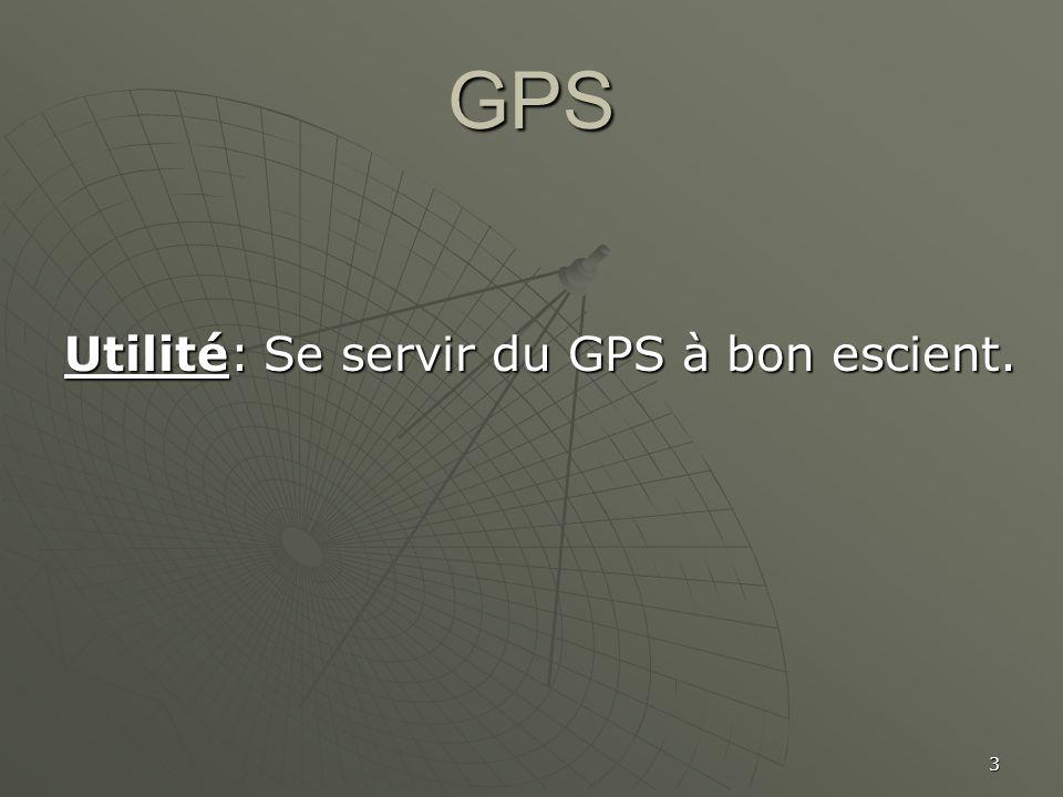 GPS Utilité: Se servir du GPS à bon escient.
