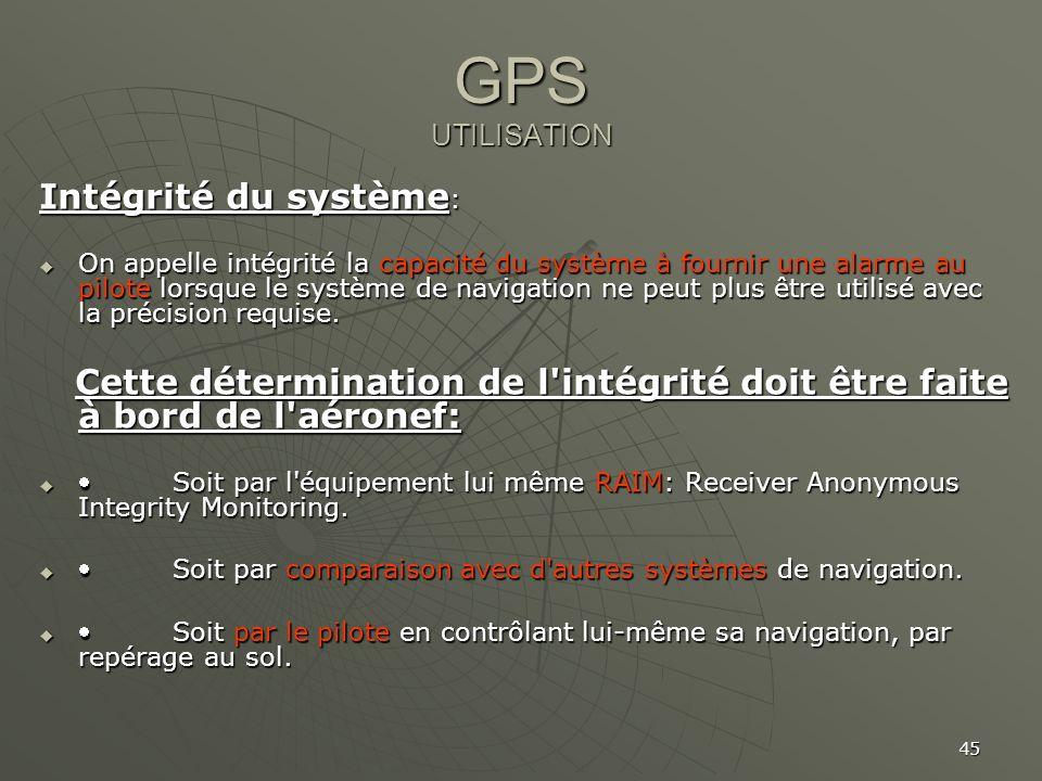 GPS UTILISATION Intégrité du système: