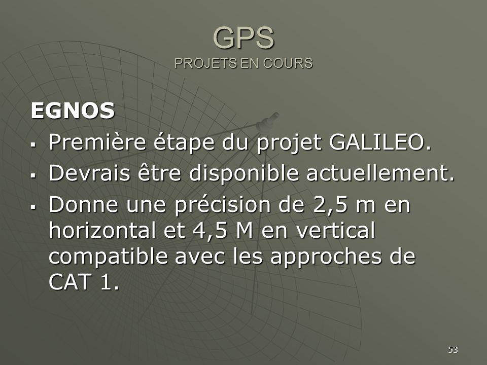 GPS PROJETS EN COURS EGNOS Première étape du projet GALILEO.