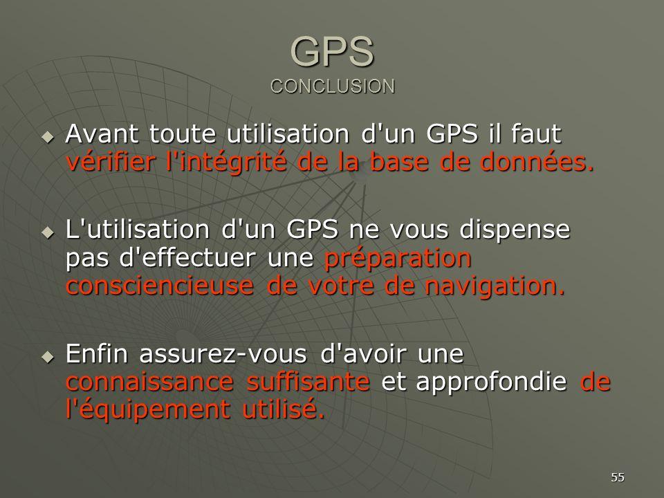 GPS CONCLUSION Avant toute utilisation d un GPS il faut vérifier l intégrité de la base de données.