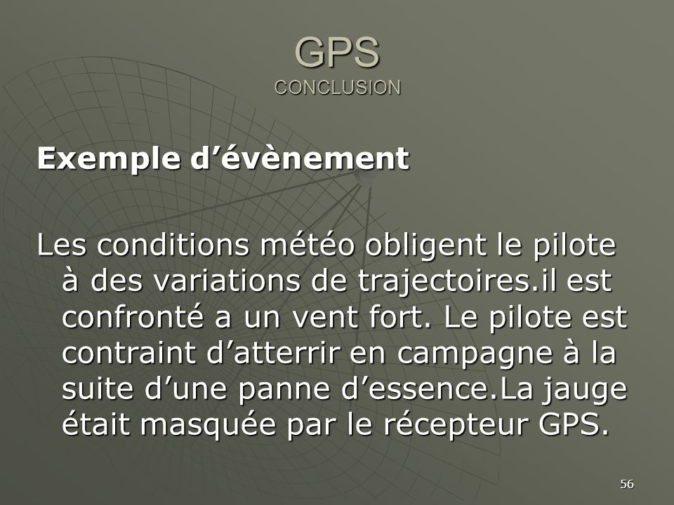 GPS CONCLUSION Exemple d'évènement