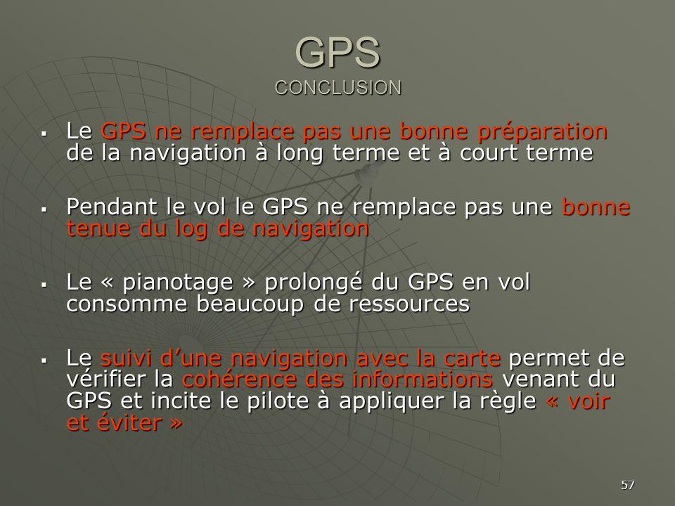 GPS CONCLUSION Le GPS ne remplace pas une bonne préparation de la navigation à long terme et à court terme.