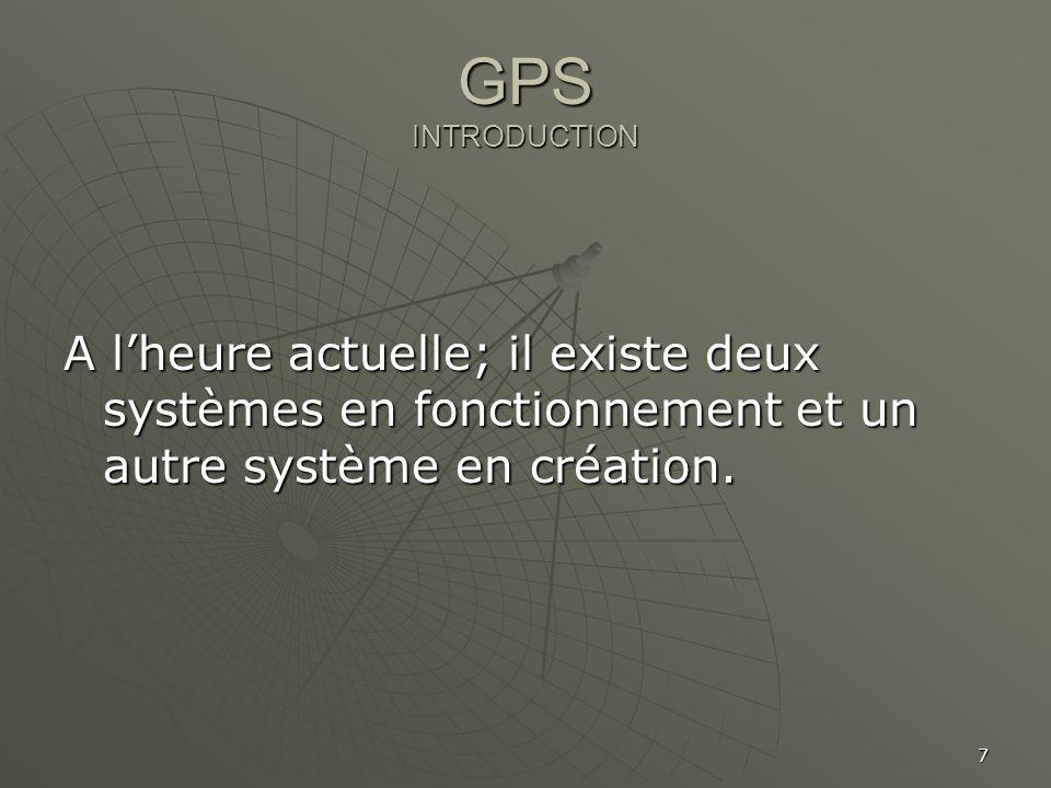 GPS INTRODUCTION A l'heure actuelle; il existe deux systèmes en fonctionnement et un autre système en création.