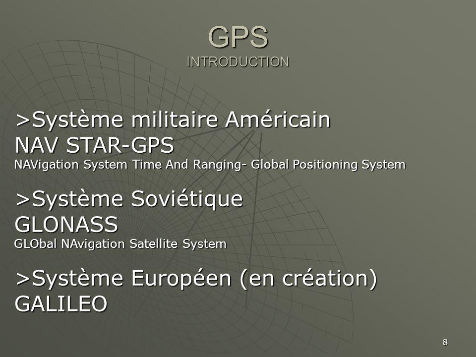 GPS INTRODUCTION >Système militaire Américain NAV STAR-GPS