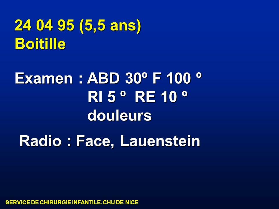 24 04 95 (5,5 ans) Boitille. Examen : ABD 30º F 100 º.