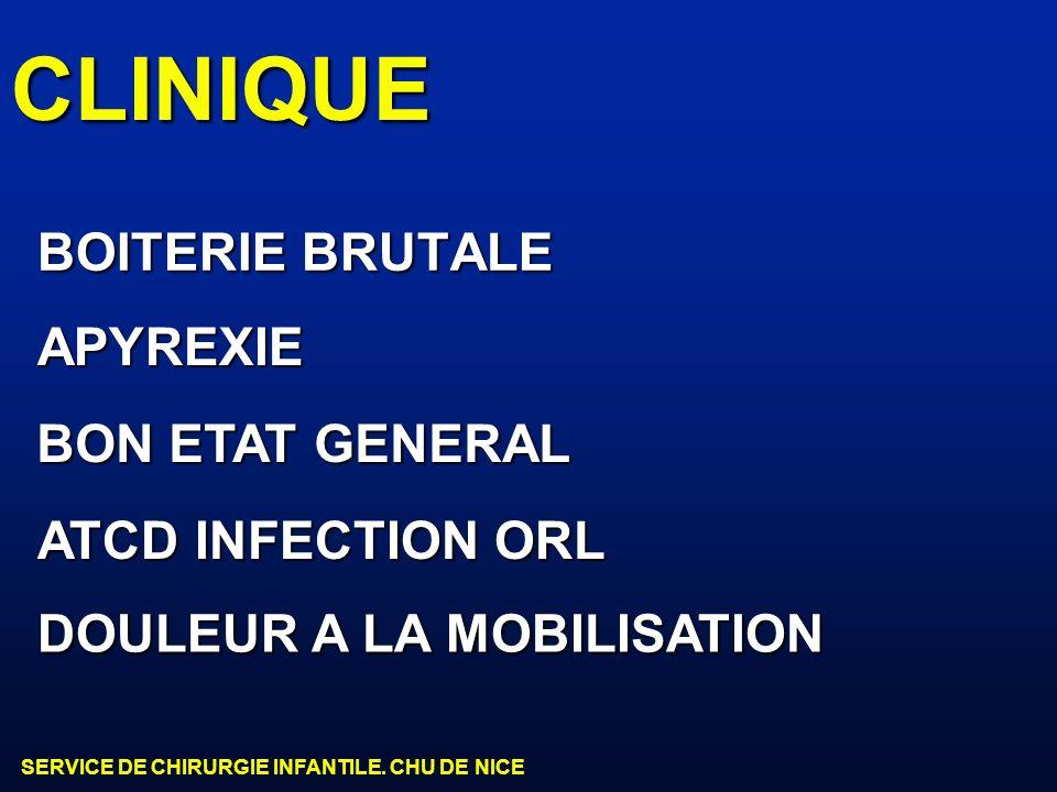 CLINIQUE BOITERIE BRUTALE APYREXIE BON ETAT GENERAL ATCD INFECTION ORL
