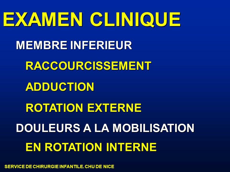 EXAMEN CLINIQUE MEMBRE INFERIEUR RACCOURCISSEMENT ADDUCTION