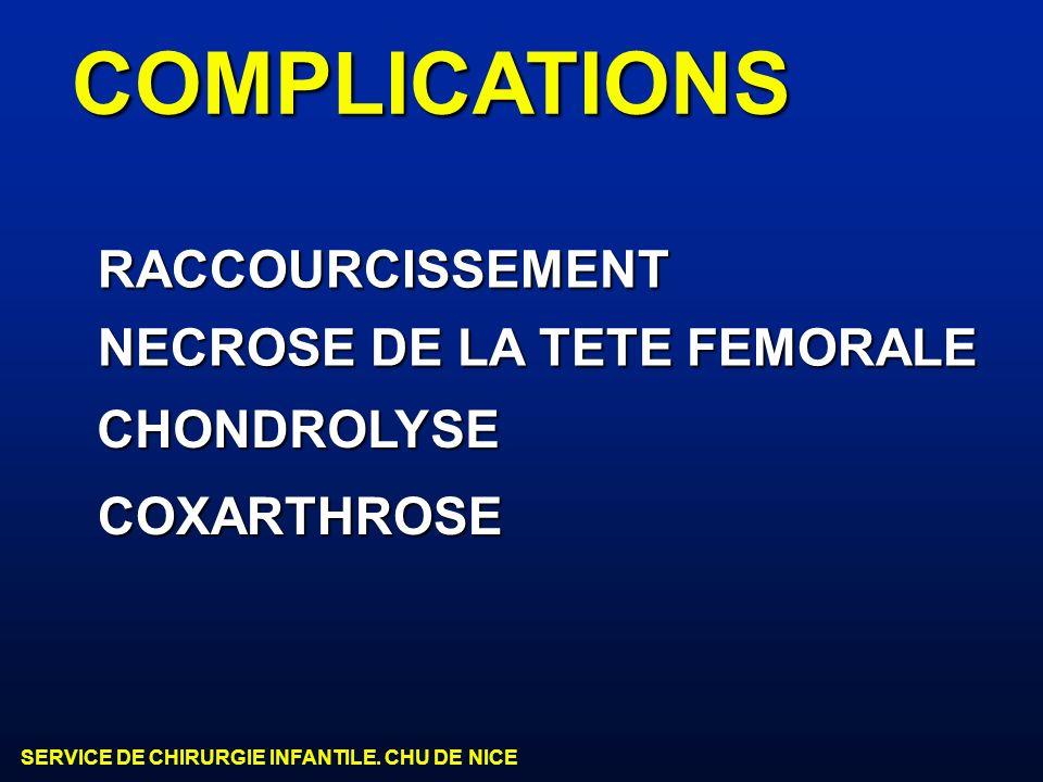 COMPLICATIONS RACCOURCISSEMENT NECROSE DE LA TETE FEMORALE CHONDROLYSE