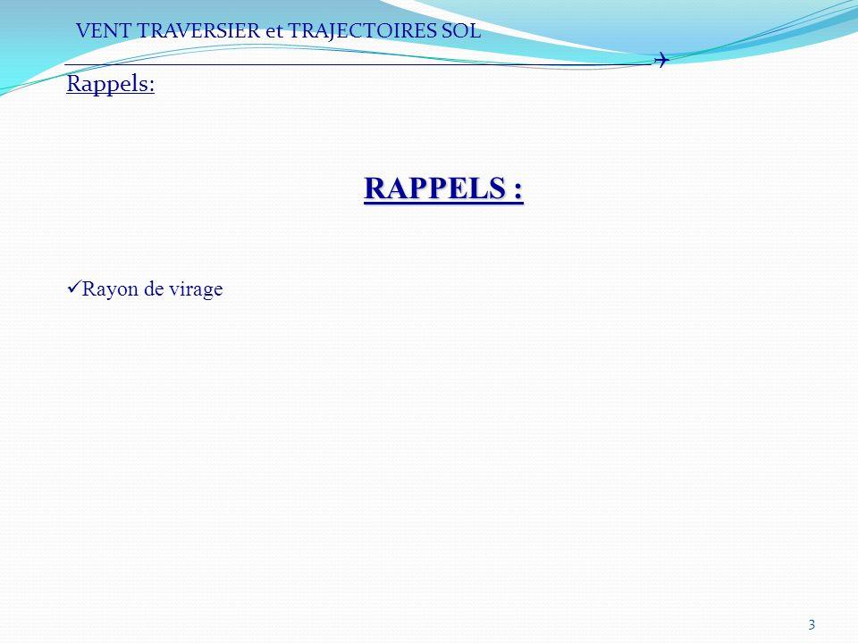 RAPPELS : Rappels: VENT TRAVERSIER et TRAJECTOIRES SOL 