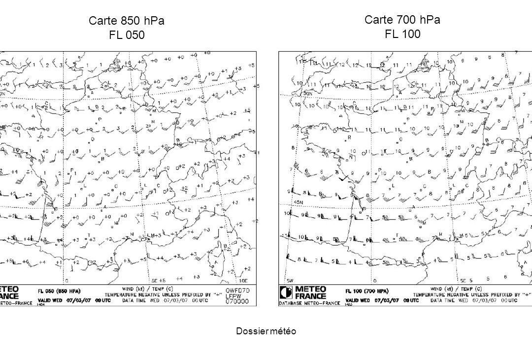 Carte 850 hPa FL 050 Carte 700 hPa FL 100 Dossier météo