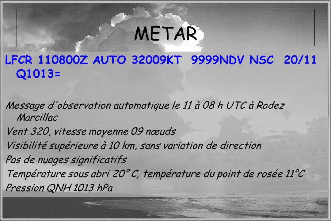 METAR LFCR 110800Z AUTO 32009KT 9999NDV NSC 20/11 Q1013=