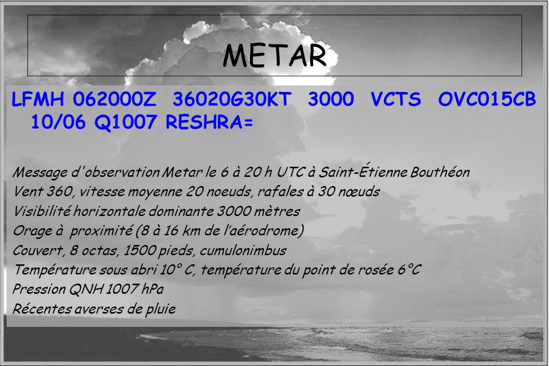 METAR LFMH 062000Z 36020G30KT 3000 VCTS OVC015CB 10/06 Q1007 RESHRA=