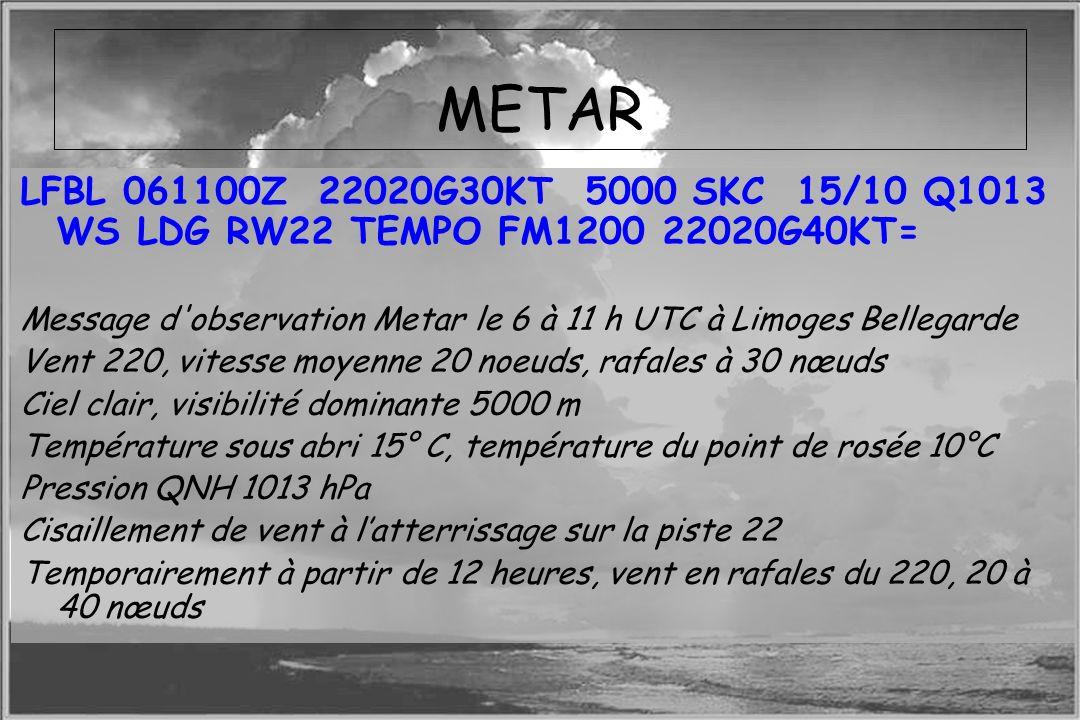 METAR LFBL 061100Z 22020G30KT 5000 SKC 15/10 Q1013 WS LDG RW22 TEMPO FM1200 22020G40KT=